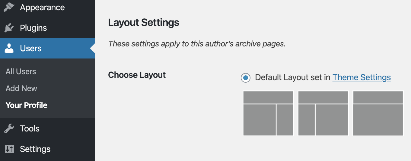 The Genesis author layout options in the WordPress admin area.