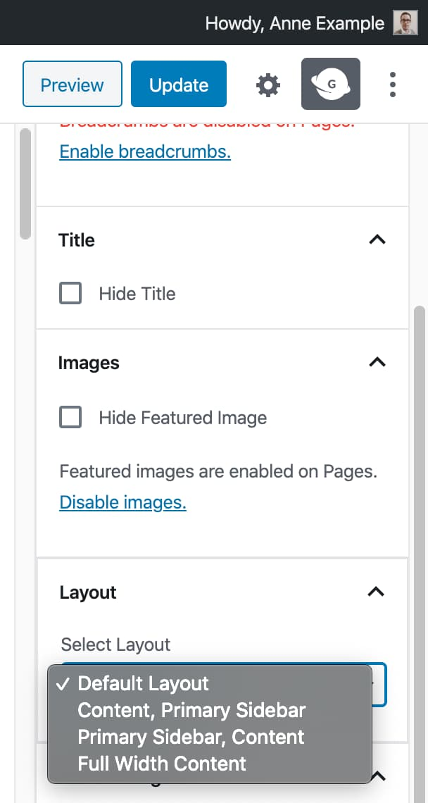 The Genesis page layout options in the block editor within the Genesis sidebar.