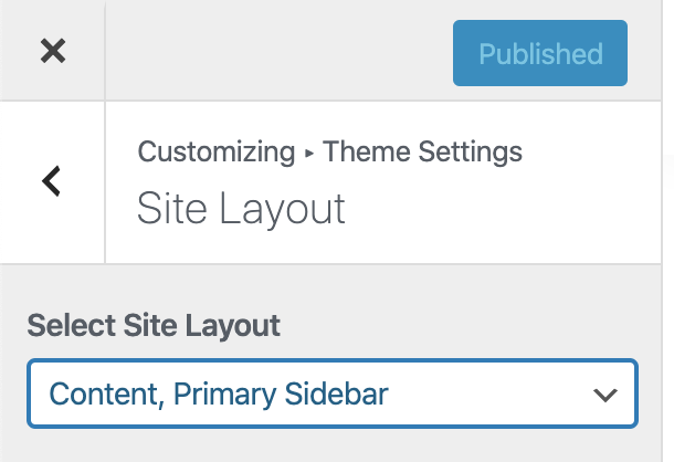 The Genesis site default layout setting in the Customizer.